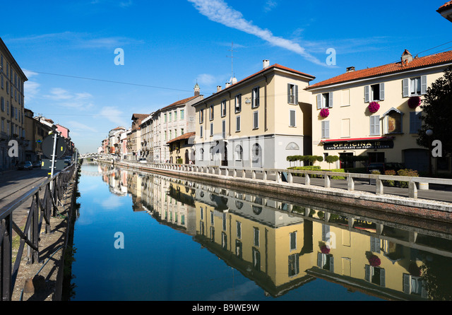 The Naviglio Grande Canal in the early morning, Milan, Lombardy, Italy - Stock Image
