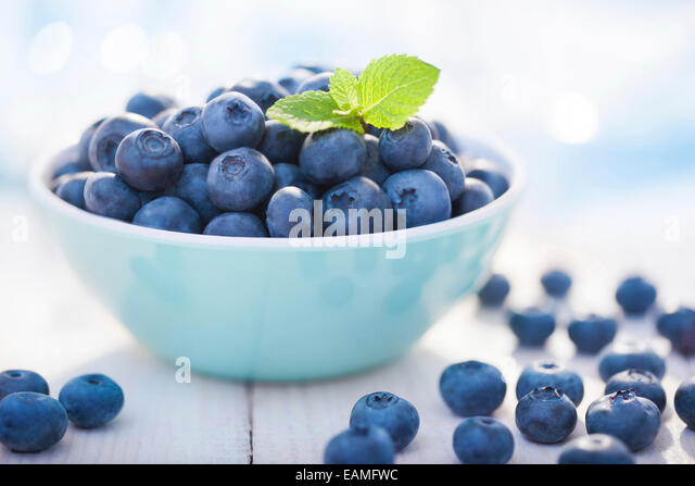 Blueberries in a bowl with leafs of mint - Stock Image