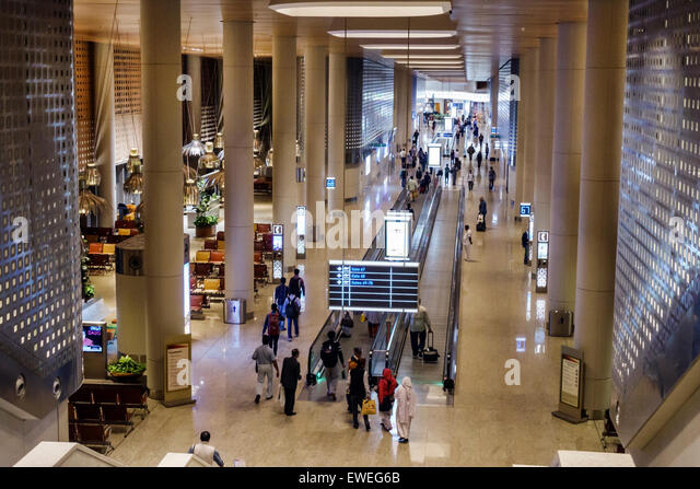 India Indian Asian Mumbai Chhatrapati Shivaji International Airport terminal concourse gate area inside interior - Stock Image