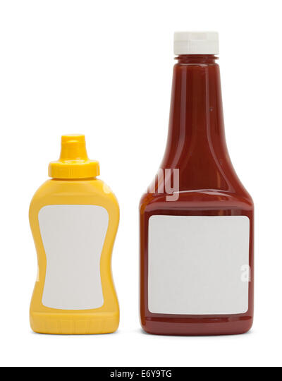 Generic Ketchup and Mustard Bottle Isolated on White Background. - Stock Image