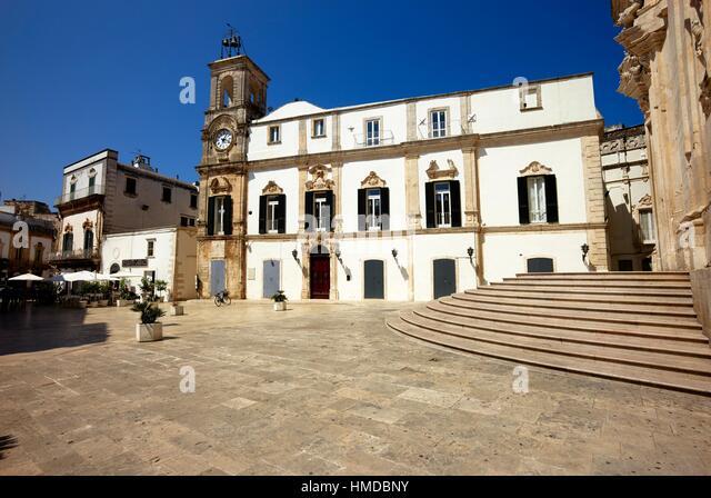 Piazza Plebiscito (Plebiscito Square) in Martina Franca, Apulia, Italy. - Stock Image
