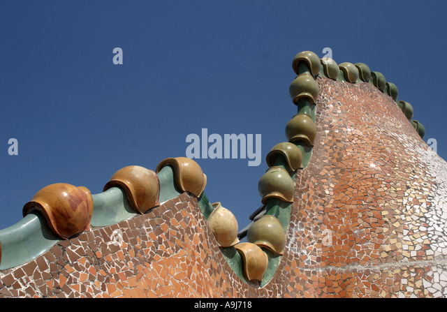 Barcelona Casa Batllo by Antoni Gaudi chimneys on roof top terasse  - Stock Image