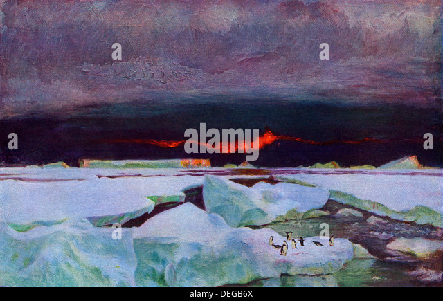Antarctic sunset, 9:00 p.m., February 1902. - Stock Image
