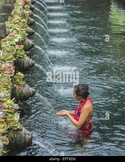 Tirta Empul Temple in Bali, Indonesia Editorial Use Only - Stock Image