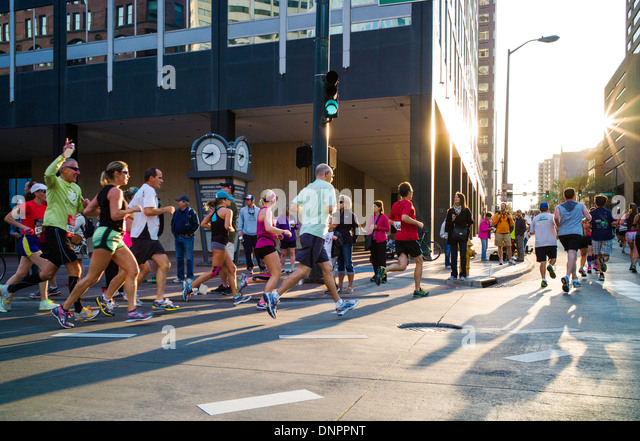 Runners in the Sports Authority Rock'n'Roll Marathon, Denver, Colorado, USA. Fund raiser for Prostate Cancer - Stock Image