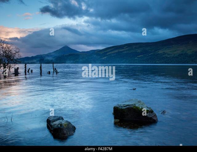 Loch Rannoch at dusk, Perth & Kinross, Scotland, UK - Stock-Bilder
