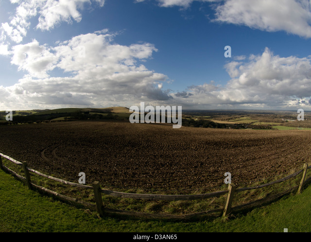 Wide-angle picture of the South Downs, Sussex, from Clayton hill looking West - Stock Image