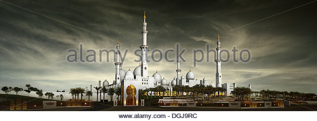 The Sheikh Zayed Bin Sultan Al Nahyan Grand Mosque in Abu Dhabi. - Stock Image