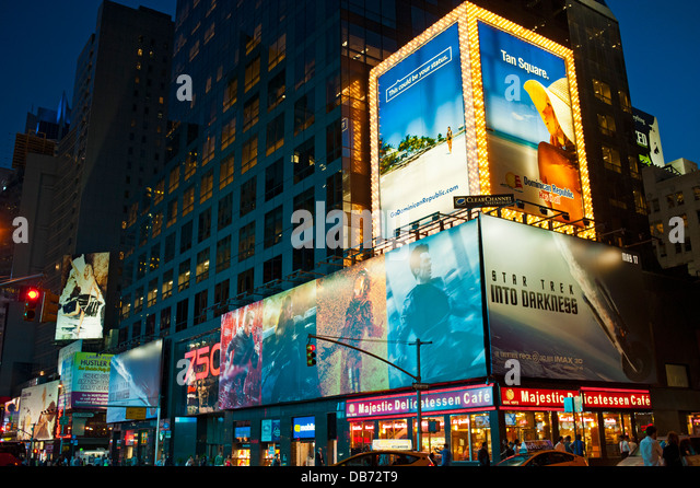 Lighted Billboards, Times Square New York City - Stock Image