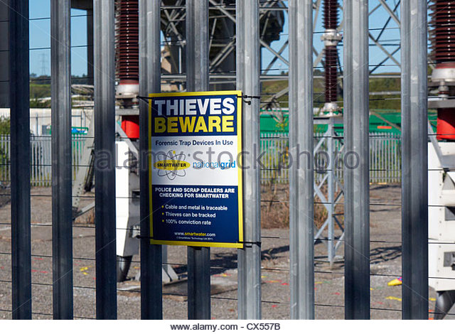 thieves beware warning sign smartwater in use at an electrical sub power station - Stock Image