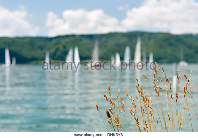 Germany, Baden-Wurttenberg, Sipplingen, Boats in front of Bodanruck on  Lake Constance - Stock Image