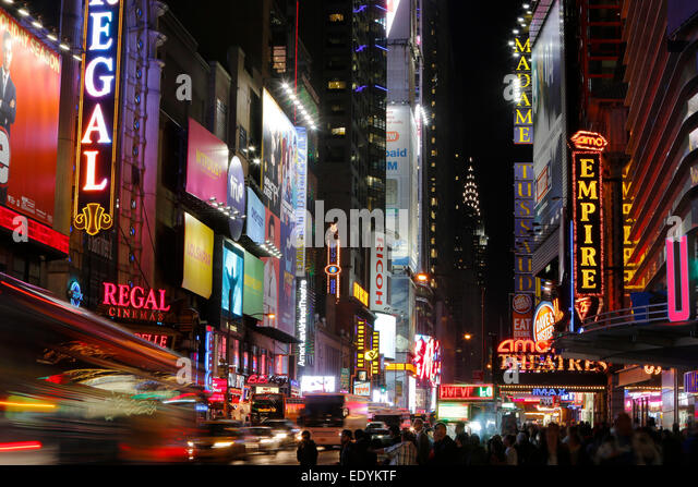 W 42nd St famous street sign in Times Square New York