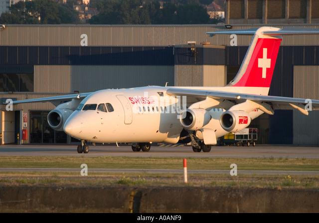 Swiss International Air Lines British Aerospace Avro RJ 100 146 RJ100 at London City UK - Stock Image