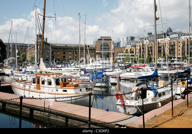 St Katherine's Dock in London England - Stock Image
