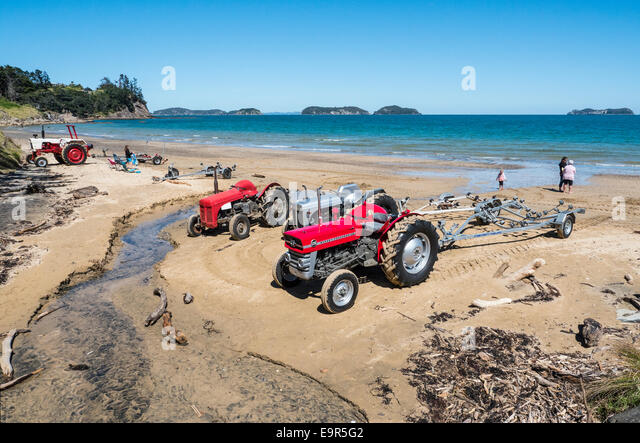 Tractors and boat trailers on beach at Waitete Bay, Colville Road, Coromandel, New Zealand - Stock Image