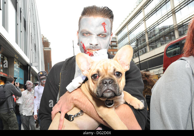 Oxford Street, London, UK. 12th October 2013. Zombies walk  through central London. Credit:  Matthew Chattle/Alamy - Stock Image