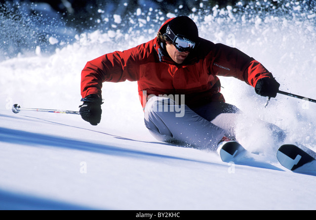 Skiing in Lake Tahoe. - Stock Image