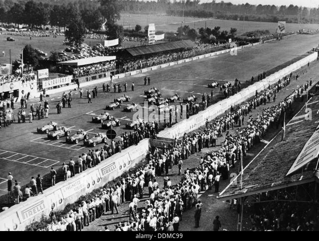Start of the Italian Grand Prix, Monza, early 1950s. - Stock Image