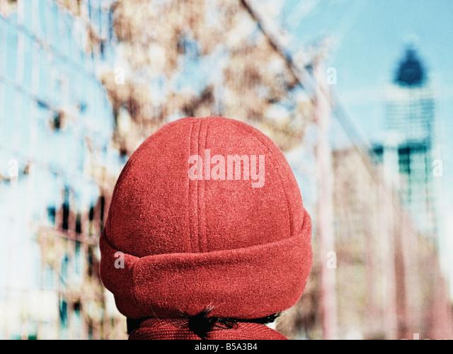Girl Wearing Red Knit Hat Atlanta Georgia - Stock Image