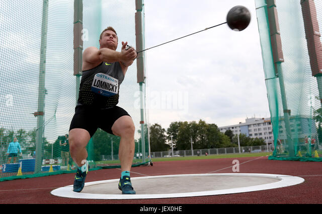 Ostrava, Czech Republic. 27th June, 2017. Marcel Lomnicky of Slovakia competes during the men's hammer throw - Stock-Bilder