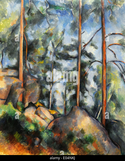 Paul Cézanne Pines and Rocks - Stock Image