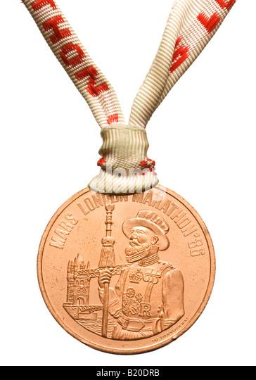London Marathon medal 1986 - Stock Image