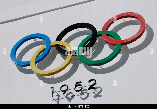 Olympic rings, 1952, Olympic stadium, Helsinki, Finland, Europe - Stock Image