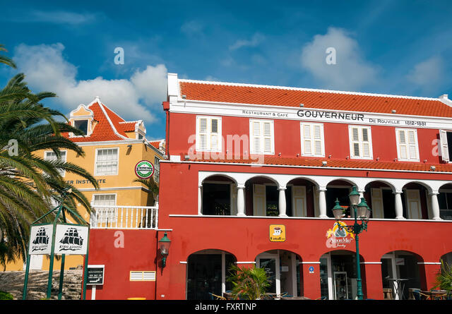 Restaurant & Café Gouverneur is on St Anna Bay Otrobanda Willemstad Curacao - Stock Image