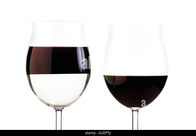 Two glasses with red wine - Stock Image