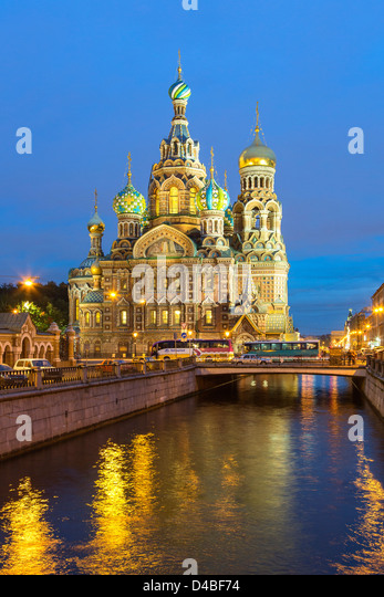 St. Petersburg, Church of Resurrection at Dusk - Stock Image