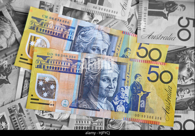 Banking, Australian dollars, bank notes - Stock Image