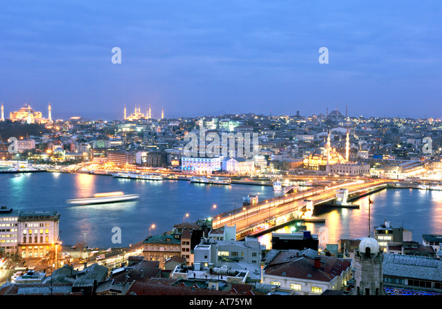 The Istanbul skyline at dusk as seen from the Galata Tower. - Stock Image