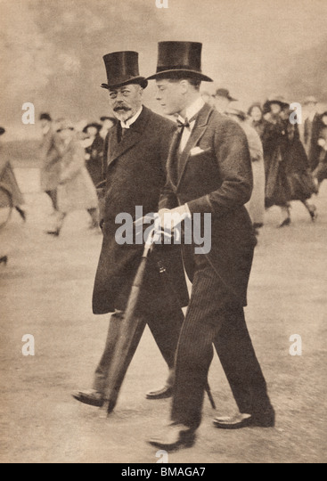 George V and his son the Prince of Wales. - Stock Image