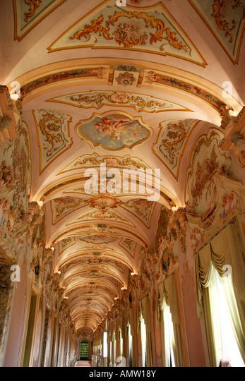 Splendid rococo gallery Pinacoteca  Civiva e Galleria Di Arte Contemporanea,in the Palazzo Pianetti.Jesi Le Marche - Stock Image