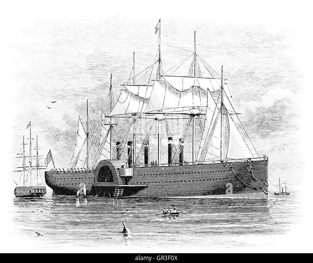 SS GREAT EASTERN in an 1877 engraving - Stock-Bilder