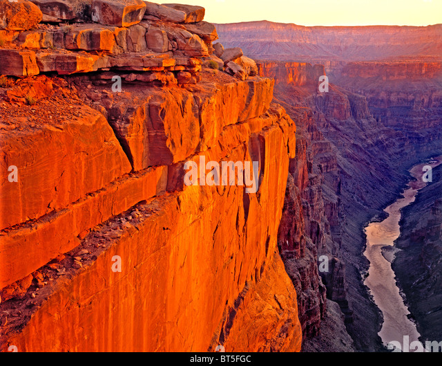 Sunrise over the Colorado River at Toroweep, Grand Canyon National Park, Arizona - Stock Image