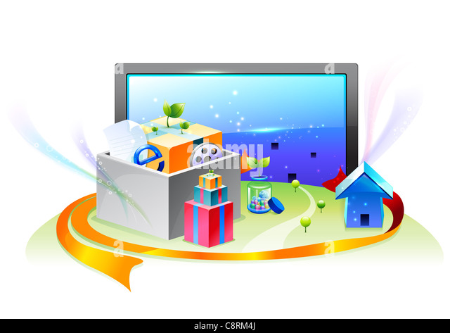 Illustration of television set, house, gifts and e-commerce - Stock Image