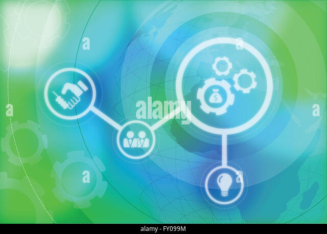 Illustrative image of business mechanics, politics and business merging - Stock Image