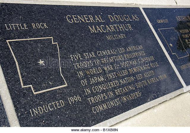 Arkansas Hot Springs Central Avenue Hill Wheatley Plaza Arkansas Walk of Fame marble plaque memorial General Douglas - Stock Image