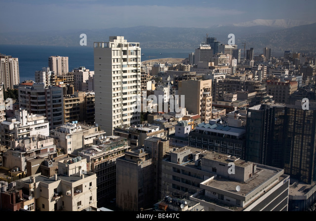 Birdeye View Of Beirut Commercial District Apartment Blocks Beirut Lebanon - Stock Image