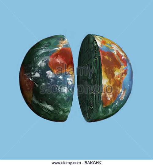 Globe Cut in Half - Stock-Bilder
