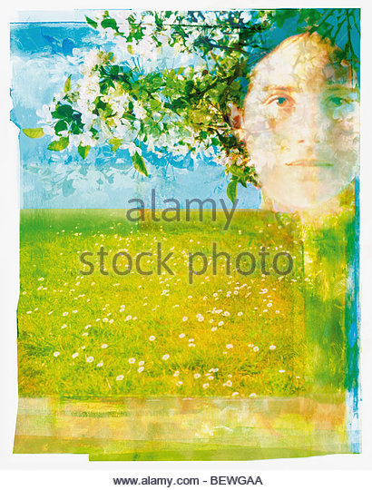 Portrait of woman in orchard - Stock Image