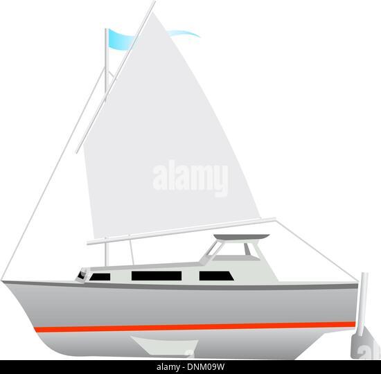 Sailing boat floating. Vector illustration. - Stock-Bilder