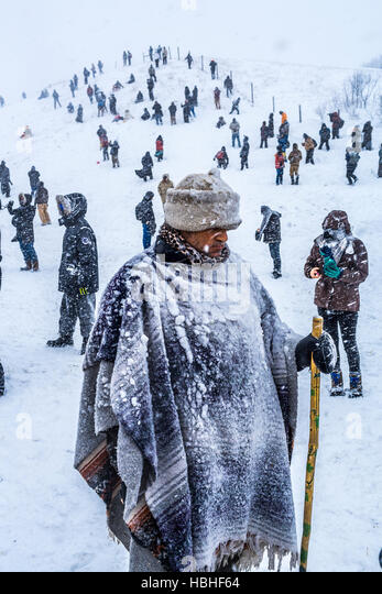 Cannonball, US. 05th Dec, 2016. Winter has arrived in Standing Rock at the Oceti Sakowin Camp in North Dakota, the - Stock Image