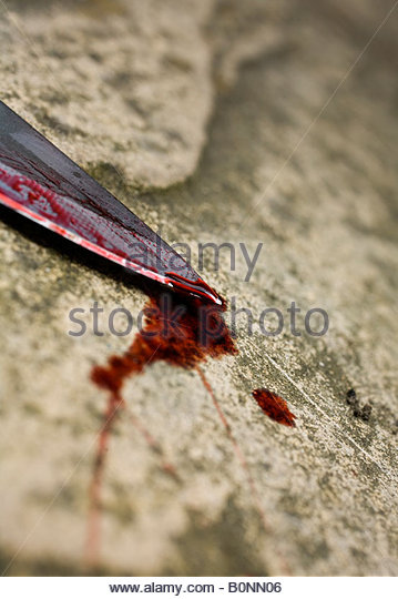Bloody knife - Stock Image