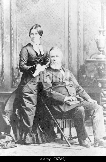 Rutherford B. Hayes, President and Mrs. Rutherford B. Hayes, Lucy Webb Hayes, circa 1870 - 1880 - Stock Image