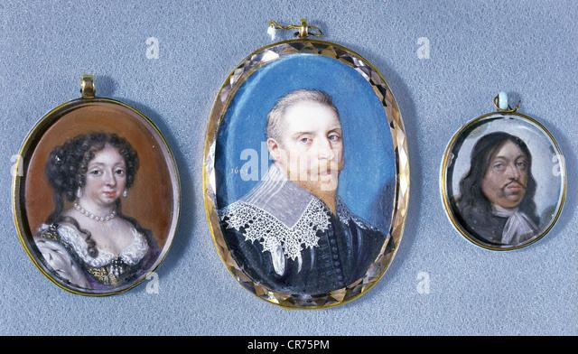 Gustavus II Adolphus, 19.12.1594 - 16.11.1632, King of Sweden 30.10.1611 - 16.11.1632, portrait, miniature, framed - Stock Image