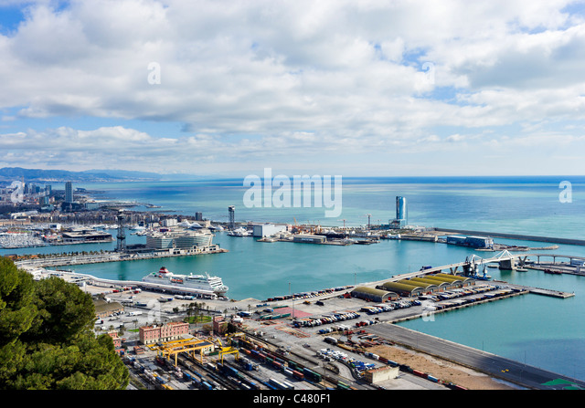 View over the Port of Barcelona from the Castell de Montjuic looking towards the Port Vell, Barcelona, Catalunya, - Stock Image
