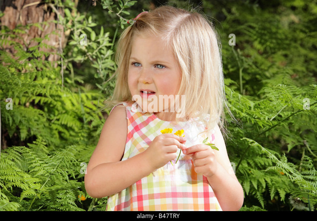young girl picking wildflowers amongst the ferns - Stock Image
