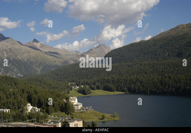 Switzerland St Moritz in summer mountain like in the Swiss Alps - Stock Image